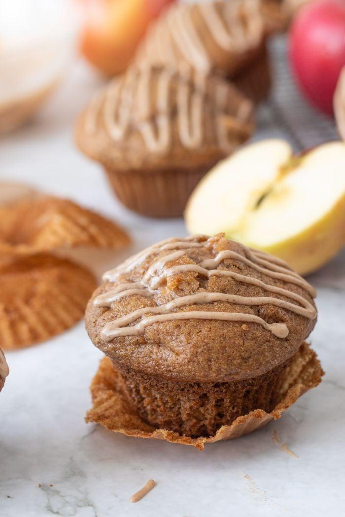 Apple Cinnamon Muffins with Maple Cinnamon Glaze
