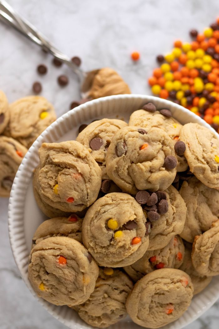 Peanut Butter Reese's Pieces Chocolate Chip Cookies
